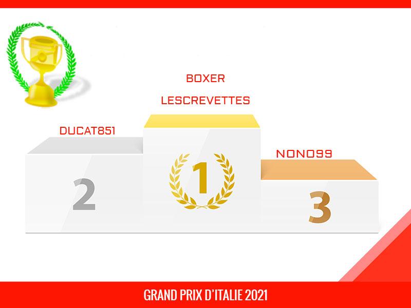 boxer, Vainqueur du Grand Prix d'Italie 2021