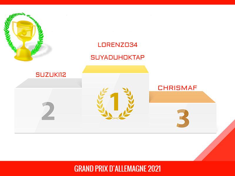 lorenzo34, Vainqueur du Grand Prix d'Allemagne 2021